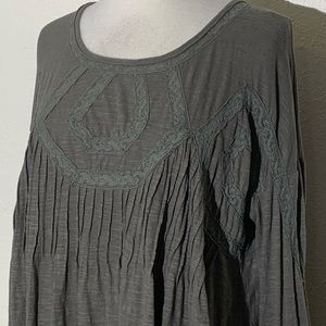 Free People Womens Top XS Green Lace Panels Flowy
